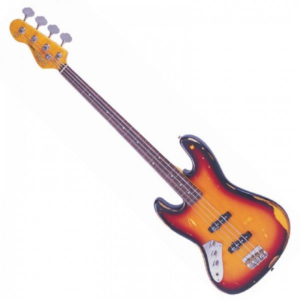 VINTAGE ICON V74 FRETLESS BASS ~ SUNSET SUNBURST LEFT HAND - LV74MRJP -  New